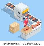 isometric fish industry seafood ... | Shutterstock .eps vector #1954948279