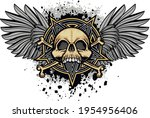gothic sign with skull and... | Shutterstock .eps vector #1954956406