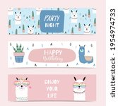 set of cute banner with llama... | Shutterstock .eps vector #1954974733