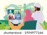 eid mubarak teleconference... | Shutterstock .eps vector #1954977166