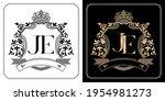 je royal emblem with crown  set ... | Shutterstock .eps vector #1954981273