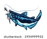blue catfish swimming chasing...
