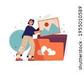 upload photo concept. woman...   Shutterstock .eps vector #1955010589