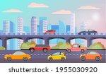 modern car parking along town... | Shutterstock .eps vector #1955030920