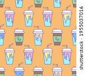 coffee takeaway drink seamless... | Shutterstock .eps vector #1955037016