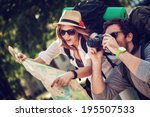 two young tourists with... | Shutterstock . vector #195507533