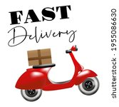 fast delivery red scooter moped | Shutterstock .eps vector #1955086630