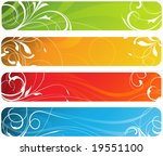 a set of four swirly floral... | Shutterstock .eps vector #19551100