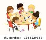 multicultural  multi aged boys... | Shutterstock .eps vector #1955129866