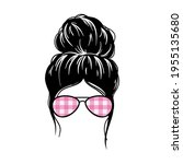 woman face with messy hair in a ... | Shutterstock .eps vector #1955135680
