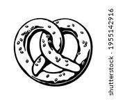 bavarian pretzel. black and... | Shutterstock .eps vector #1955142916