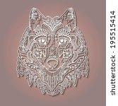 tribal ethnic wolf totem ... | Shutterstock .eps vector #195515414