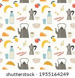 seamless pattern of breakfast... | Shutterstock .eps vector #1955164249