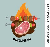 a piece of beef for the grill.... | Shutterstock .eps vector #1955167516