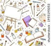 seamless pattern art supplies... | Shutterstock .eps vector #1955195053