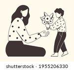 beautiful mother receives a... | Shutterstock .eps vector #1955206330