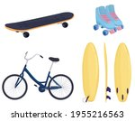 Set Of Sports Items  Skateboard ...