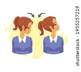 woman doing head rotations from ... | Shutterstock .eps vector #1955257219