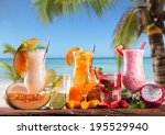 Summer Drinks On Wooden Table....