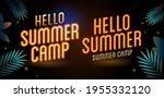 neon yellow letter hello summer ... | Shutterstock .eps vector #1955332120
