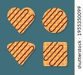 viennese or belgian waffles in... | Shutterstock .eps vector #1955350099