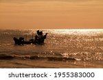 Silhouette Of Fishermen Boat At ...