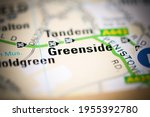 greenside on a geographical map ... | Shutterstock . vector #1955392780