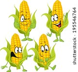Sweet Corn Cartoon With Hands