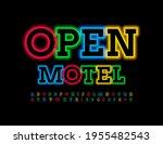 vector neon board open motel.... | Shutterstock .eps vector #1955482543