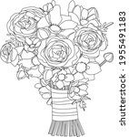 stylized cute bunch with roses. ...   Shutterstock .eps vector #1955491183