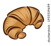hand drawn croissant icon ... | Shutterstock .eps vector #1955539699