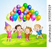 kids with balloons  | Shutterstock . vector #195559319