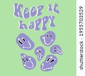retro slogan print with smile... | Shutterstock .eps vector #1955703529
