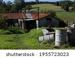 Old rusting corrugated iron dairy farm shed in Ferndale near Warragul, Gippsland, rural Victoria on a warm sunny afternoon.