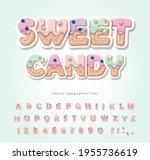 cake cartoon font. cute sweet...   Shutterstock .eps vector #1955736619