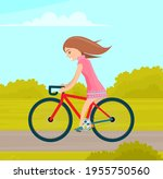 Girl Riding In Park. Woman...