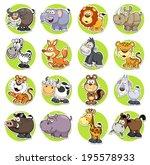 Stock vector vector illustration of animals set cartoon 195578933