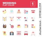 icon set wedding made with flat ...