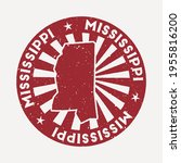 mississippi stamp. travel red... | Shutterstock .eps vector #1955816200