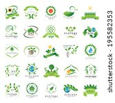 eco icons set   isolated on... | Shutterstock .eps vector #195582353
