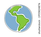 the earth planet one line...   Shutterstock .eps vector #1955824876