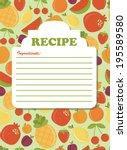 recipe card design. vector... | Shutterstock .eps vector #195589580