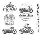 set of vintage motorcycle... | Shutterstock .eps vector #195591470