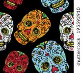 seamless pattern with mexican... | Shutterstock .eps vector #195592910
