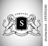 vintage crest with lions | Shutterstock .eps vector #195593240