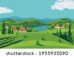 green mountain lake valley... | Shutterstock .eps vector #1955935090