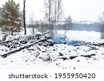 Ruins Of House Burned In Fire...