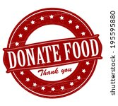 Stamp with text donate food  inside, vector illustration