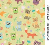 vector seamless pattern with... | Shutterstock .eps vector #195596054