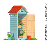 mini garden shed with household ... | Shutterstock .eps vector #1955962240